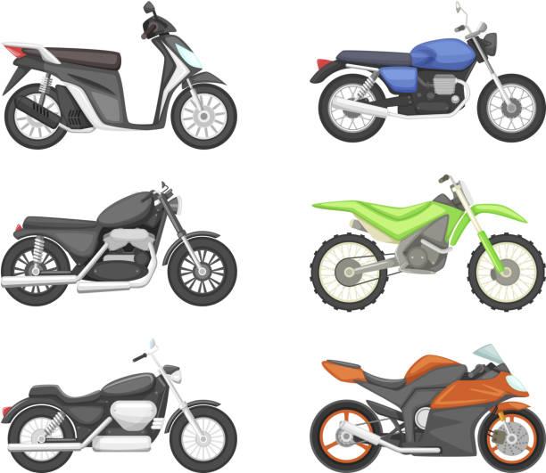 Diferentes tipos de motocicletas. Vector set ilustraciones en estilo de dibujos animados - ilustración de arte vectorial