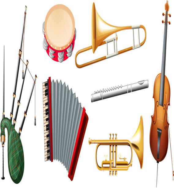 different types of musical instruments - flet stock illustrations