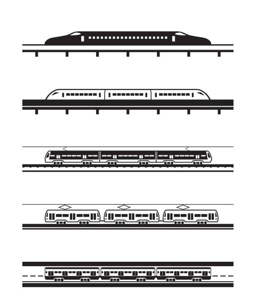 Different types of passenger trains Different types of passenger trains - vector illustration high speed train stock illustrations