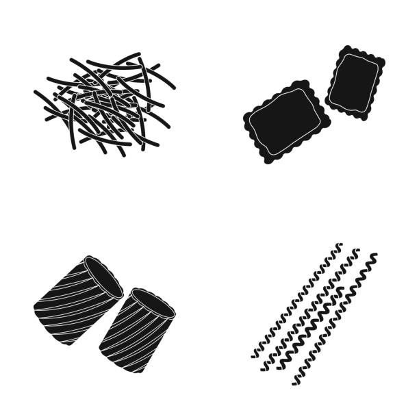 Different types of pasta. Types of pasta set collection icons in black style vector symbol stock illustration web. Different types of pasta. Types of pasta set collection icons in black style vector symbol stock illustration . ravioli stock illustrations