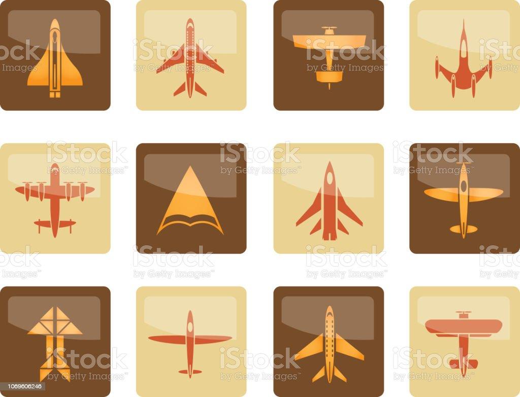 diferentes tipos de avión iconos sobre fondo marrón - ilustración de arte vectorial