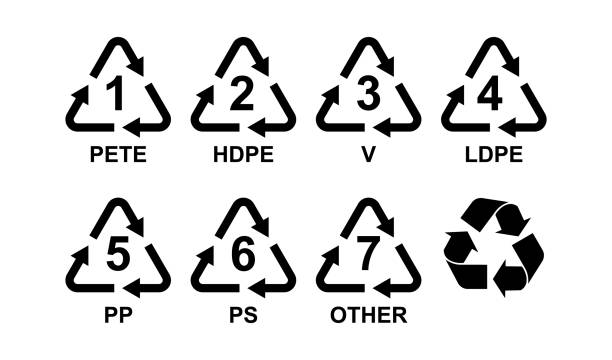 verschiedene arten von kunststoff recycling symbole - recycling stock-grafiken, -clipart, -cartoons und -symbole