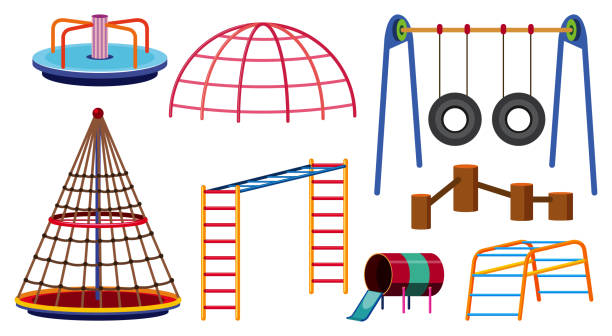 different types of play stations for playground - monkey bars stock illustrations, clip art, cartoons, & icons