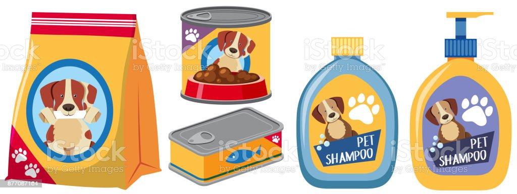 Verschiedene Arten von Produkten für Hund – Vektorgrafik