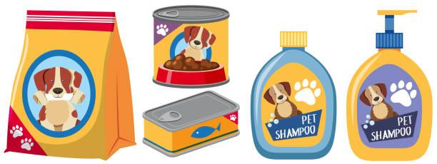 ilustrações de stock, clip art, desenhos animados e ícones de different types of products for dog - dog food