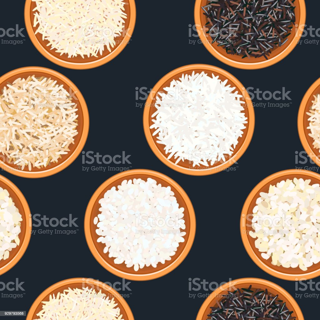 Different types of rice in bowls on dark wooden background. seamless pattern. Basmati, wild, long brown, arborio, sushi. vector art illustration