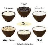 Different types of rice in bowls