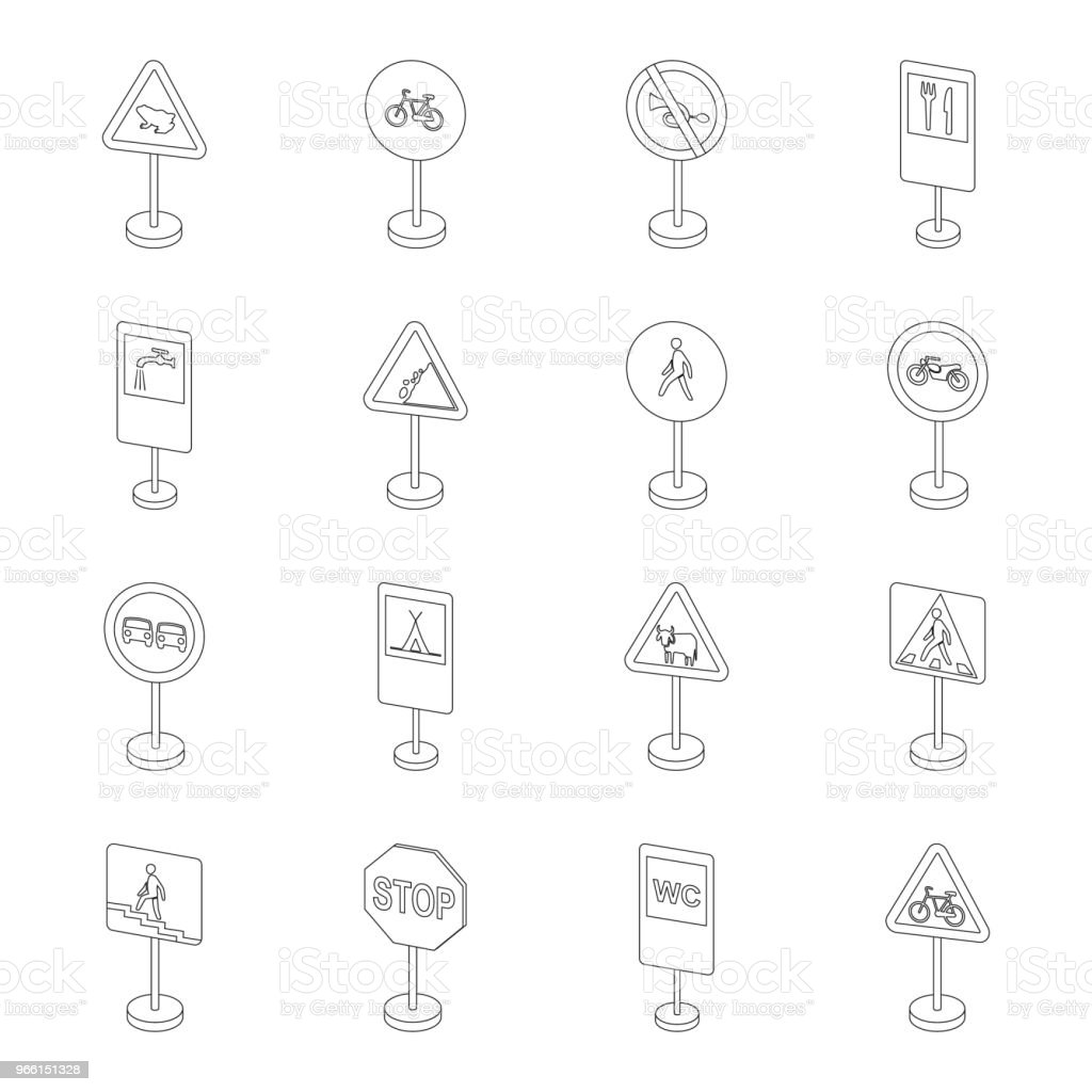Different types of road signs outline icons in set collection for design. Warning and prohibition signs vector symbol stock web illustration. - arte vettoriale royalty-free di Bicicletta