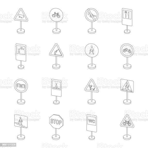 Diversi Tipi Di Segnali Stradali Delineano Icone Nella Collezione Di Set Per Il Design Segnali Di Avvertimento E Divieto Simbolo Vettoriale Stock Illustrazione Web - Immagini vettoriali stock e altre immagini di Bicicletta