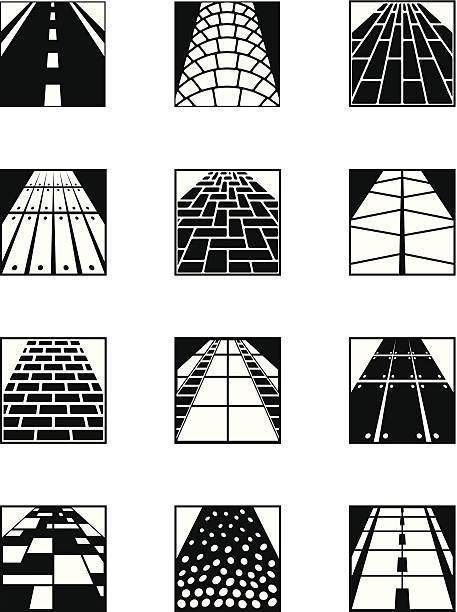 verschiedene road oberflächen - granitplatten stock-grafiken, -clipart, -cartoons und -symbole