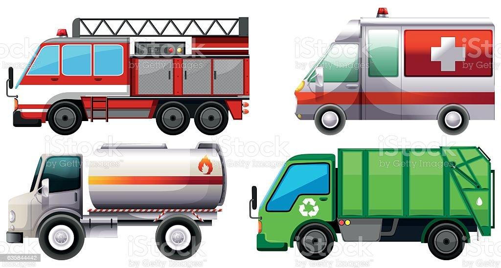Different types of service trucks vector art illustration