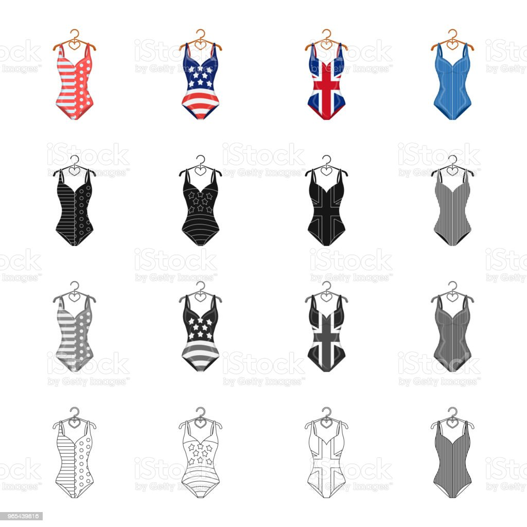 Different types of swimsuits cartoon black monochrome outline icons in set collection for design. Swimming accessories vector symbol stock web illustration. royalty-free different types of swimsuits cartoon black monochrome outline icons in set collection for design swimming accessories vector symbol stock web illustration stock vector art & more images of beach