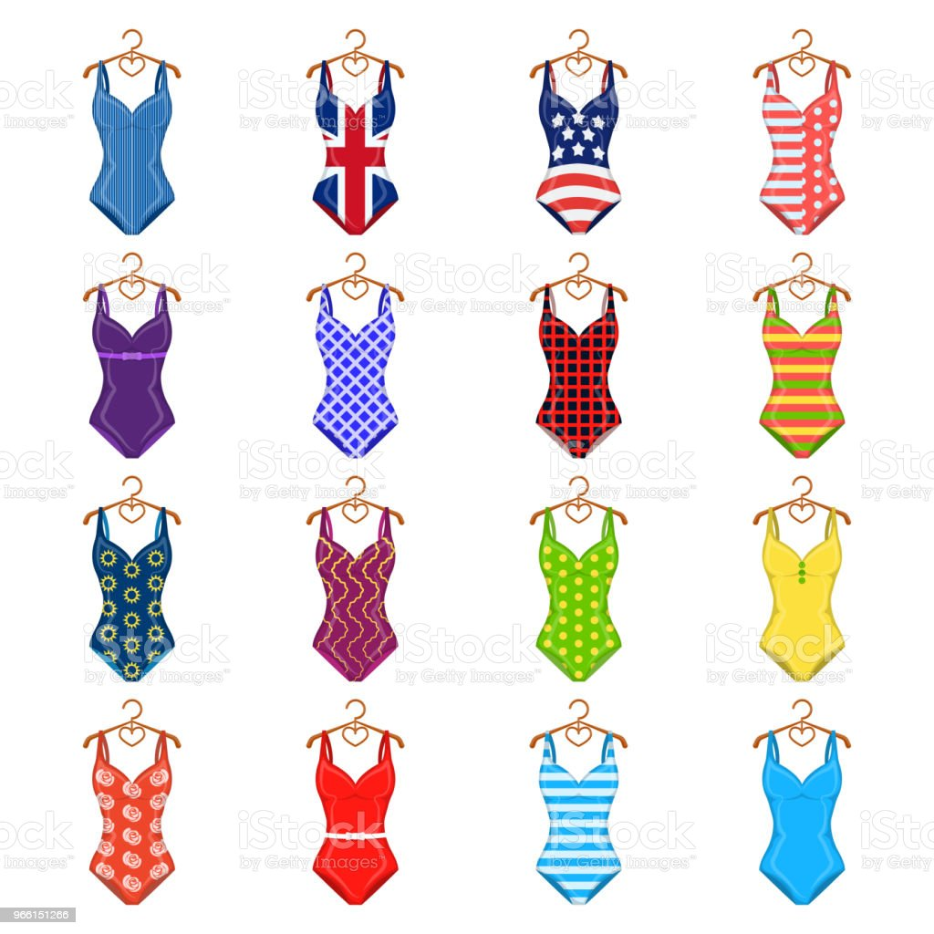 Different types of swimsuits cartoon icons in set collection for design. Swimming accessories vector symbol stock web illustration. - Векторная графика Бежевый роялти-фри