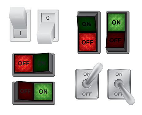 Four types of switches in on and off positions.