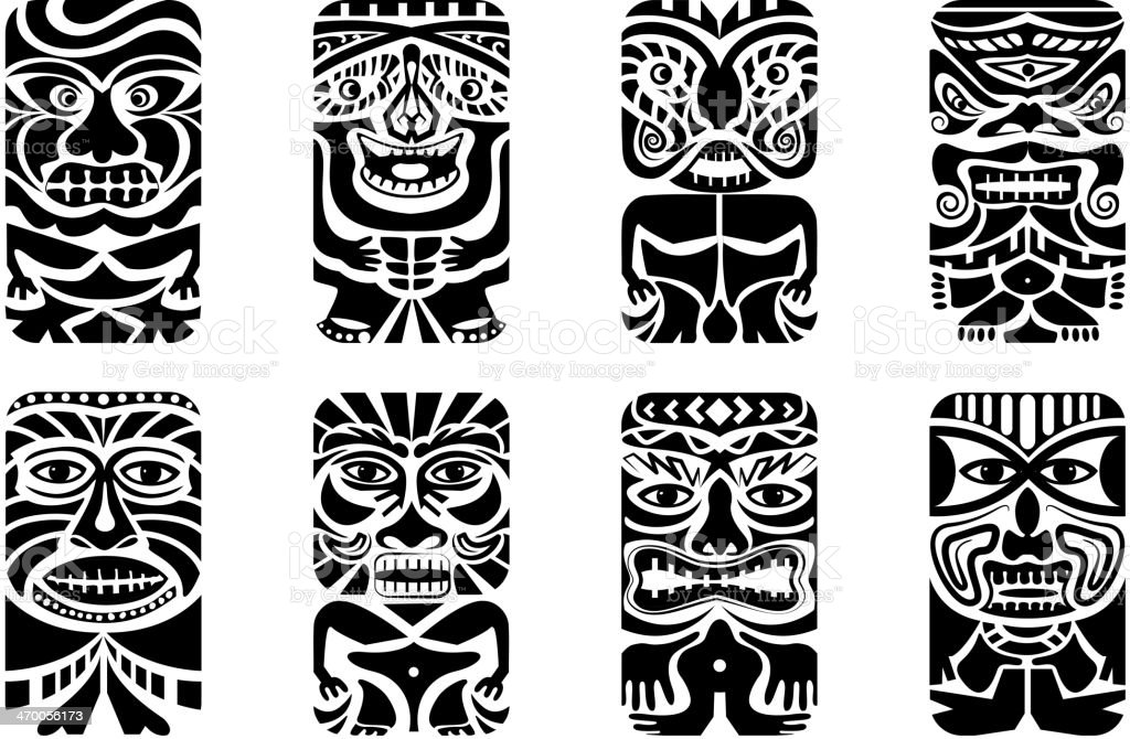 Different types of tiki masks in black vector art illustration