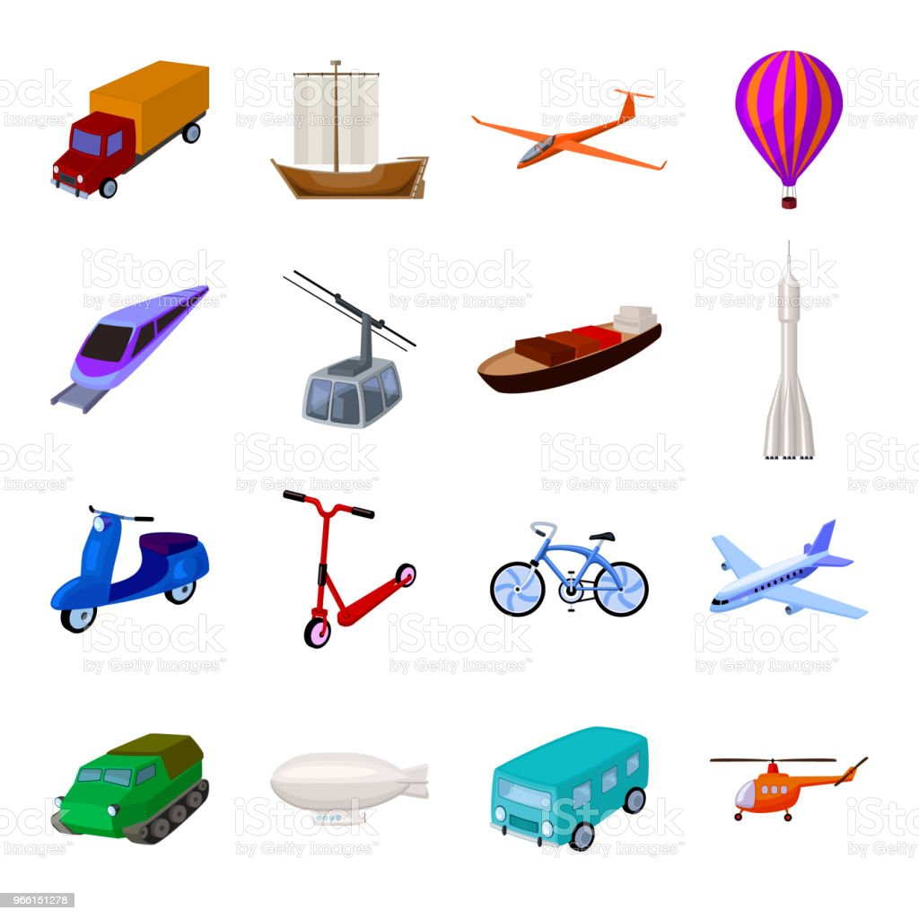 Olika typer av transporter tecknad ikoner i set samling för design. Bil och skepp vektor symbol lager web illustration. - Royaltyfri Ballong vektorgrafik