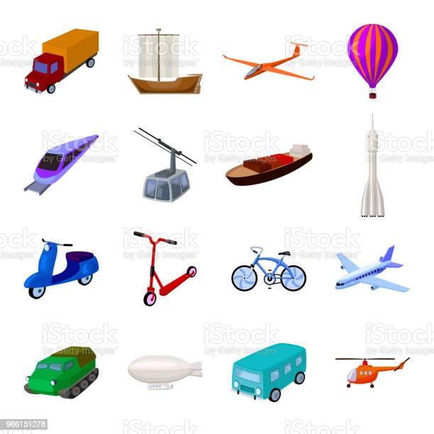 Olika Typer Av Transporter Tecknad Ikoner I Set Samling För Design Bil Och Skepp Vektor Symbol Lager Web Illustration-vektorgrafik och fler bilder på Ballong