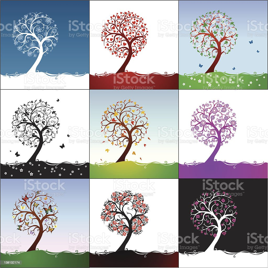 Different types of trees stock vector art more images of for Different types of abstract art