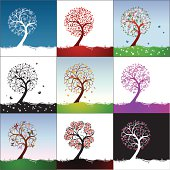Trees with snowflakes, hearts, rounds, leaves, flowers, butterflies. Vector illustration.