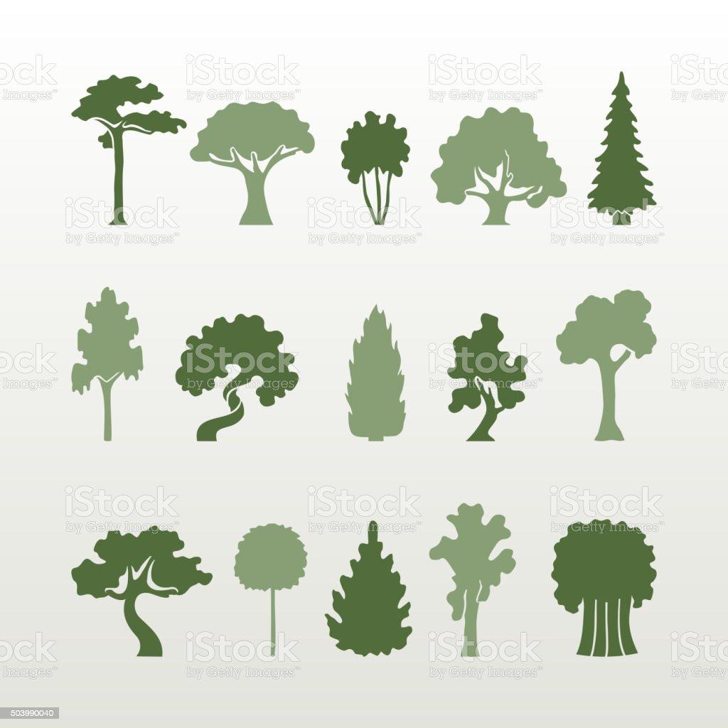 Diversi tipi di alberi vettoriale. - illustrazione arte vettoriale