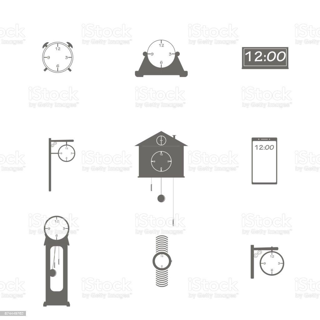 Ilustración De Diferentes Tipos De Relojes Y Más Banco De Imágenes