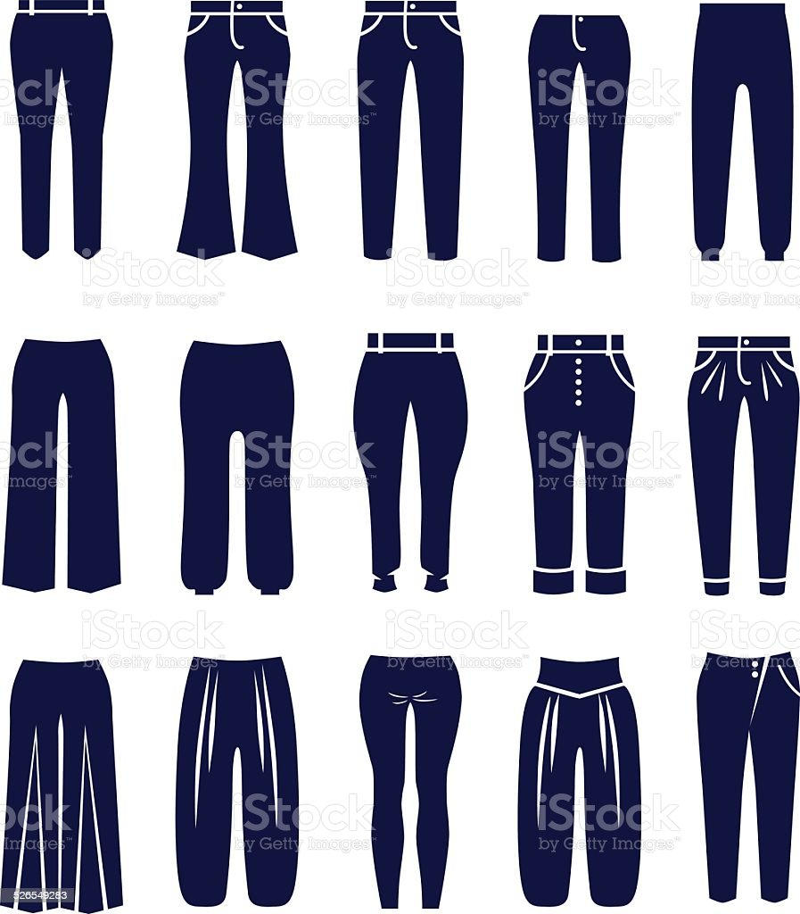Different types of women trousers and pants vector art illustration