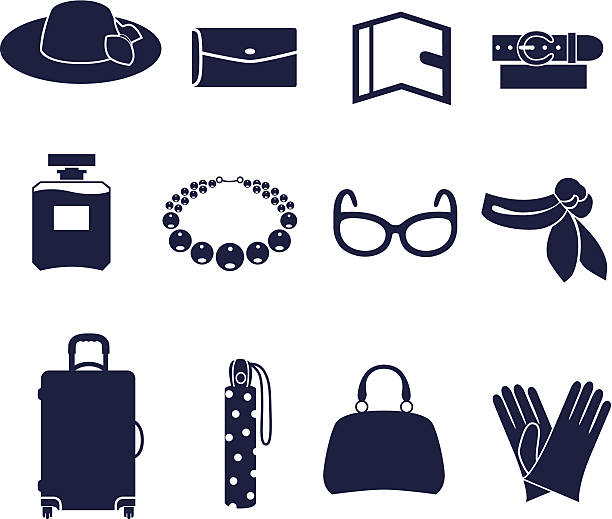 Different types of women's accessories Solid fill icons in EPS 8 format neckerchief stock illustrations
