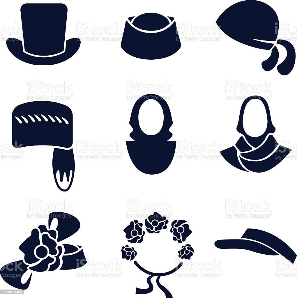 Different Types Of Womens Hats And Headdresses Stock Vector Art ... 6eda3c57e8a