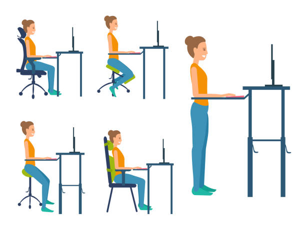 Different types seats. Illustration set about healthy natural posture work sitting. Saddle chair, standing workplace, kneeling chair, chair with orthopedic pillows, adjustable office ergonomic chair. posture stock illustrations