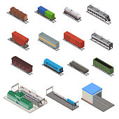 Different Types Train 3d Icons Set Isometric View. Vector