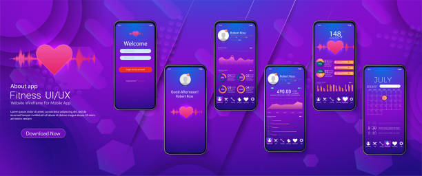 different ui, ux, gui screens fitness app and flat web icons for mobile apps, responsive website including. - workout calendar stock illustrations, clip art, cartoons, & icons