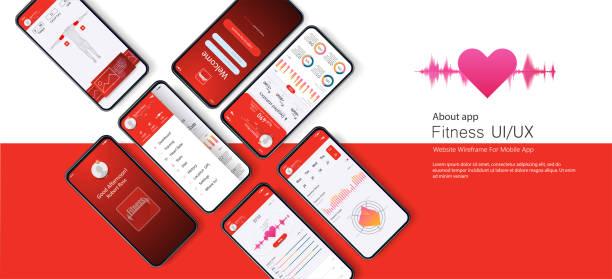 ilustrações, clipart, desenhos animados e ícones de ui diferente, ux, gui telas de fitness app e ícones da web plana para aplicativos móveis, site responsivo, incluindo - templates