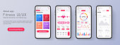 Different UI, UX, GUI screens fitness app and flat web icons for mobile apps, responsive website including.