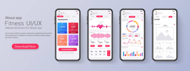 different ui, ux, gui screens fitness app and flat web icons for mobile apps, responsive website including. web design and mobile template. fitness interface design for mobile application. vector - graficzny interfejs użytkownika stock illustrations