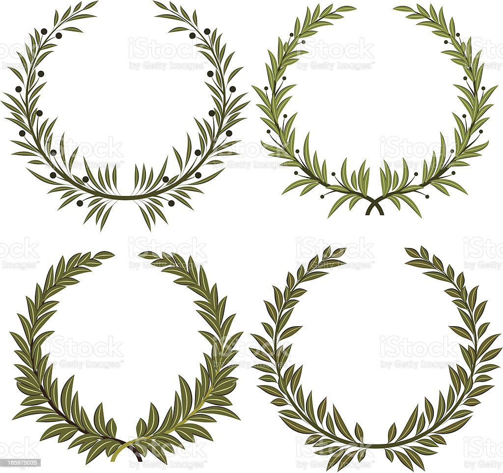 Different variations of laurel wreath royalty-free stock vector art