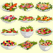 easy to edit vector illustration of different variety of fresh and healthy salad