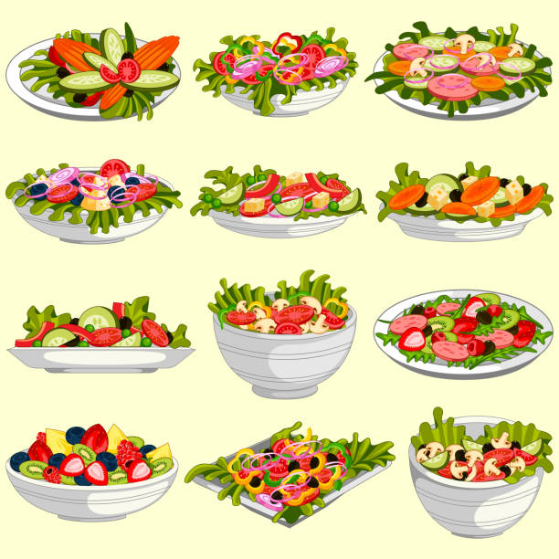 Different variety of fresh and healthy salad easy to edit vector illustration of different variety of fresh and healthy salad salad bowl stock illustrations