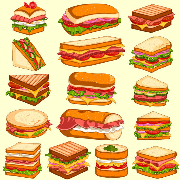 Different variety of fresh and tasty Sandwiches and Burgers easy to edit vector illustration of different variety of fresh and tasty Sandwiches and Burgers bread backgrounds stock illustrations