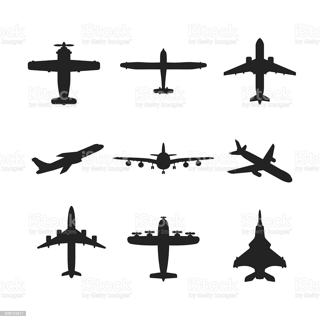 Different vector airplanes icon set vector art illustration