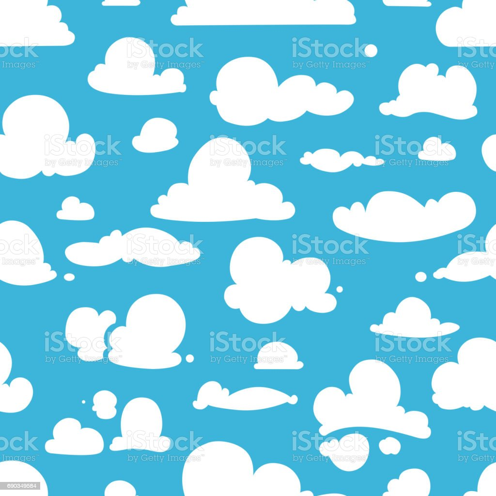 Different vector clouds on blue sky. Seamless pattern in cartoon style vector art illustration