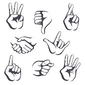 Different vector collection signs of hand gestures