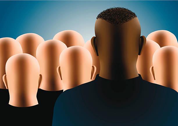 stockillustraties, clipart, cartoons en iconen met different - kaal geschoren hoofd