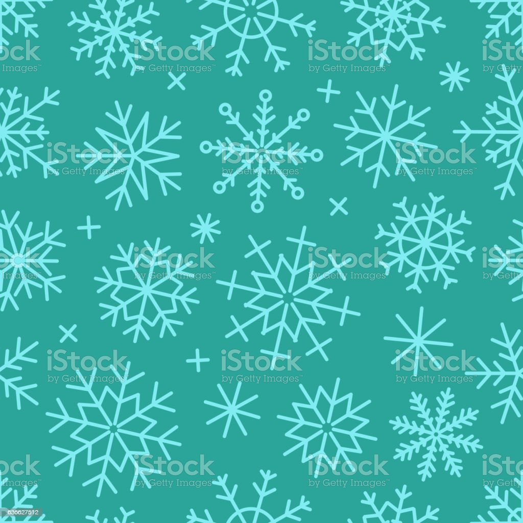 Different vector snowflakes seamless background. Vector ice crystals vector art illustration
