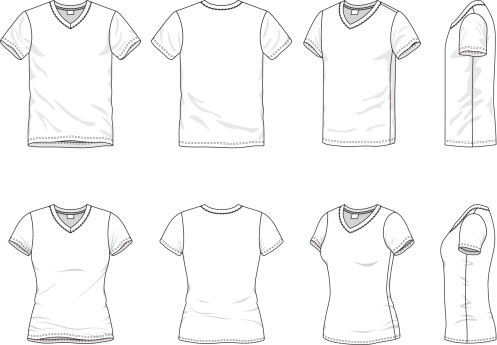 Different views of mens and women's t-shirt