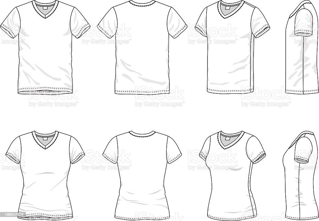 Different views of mens and women's t-shirt vector art illustration