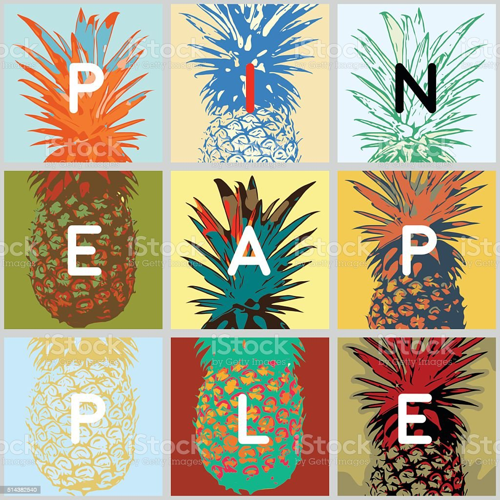 different views of pineapple vector art illustration