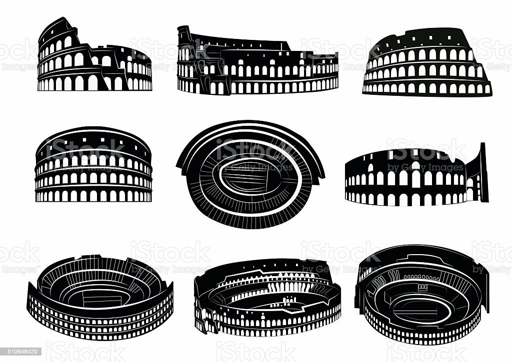Different views of roman Colosseum vector art illustration