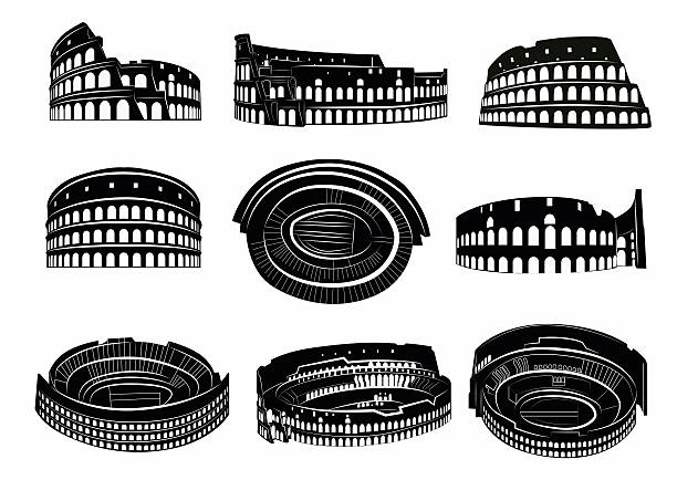 Different views of roman Colosseum Different views of roman Colosseum. Silhouettes of Colosseum. Rome, Italy. coliseum rome stock illustrations