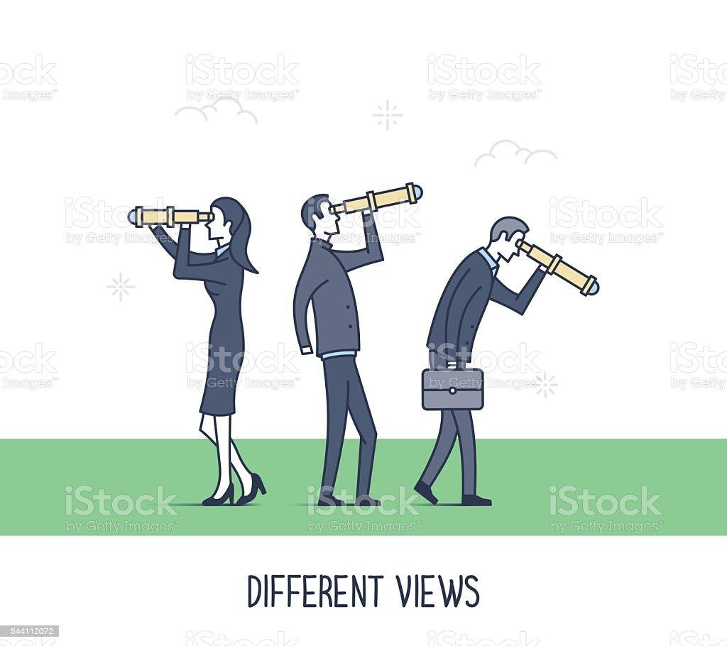 Different Views vector art illustration