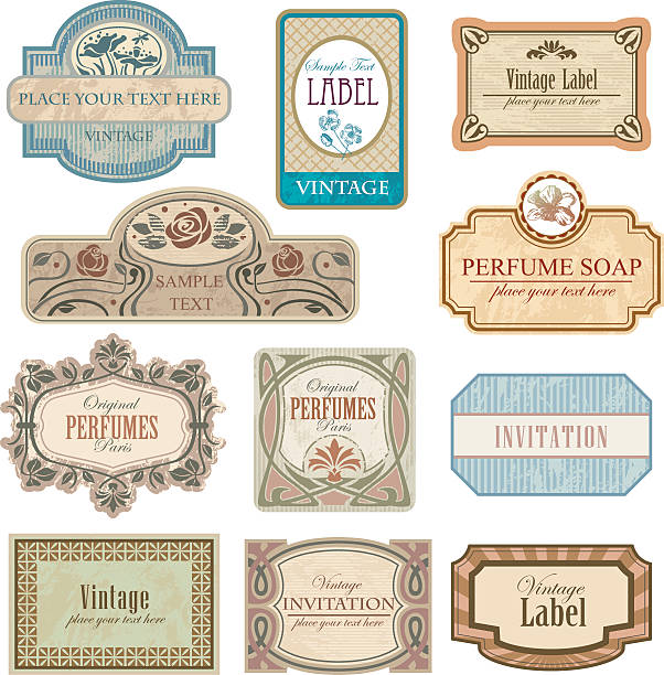 Different vintage art nouveau lables. vector art illustration